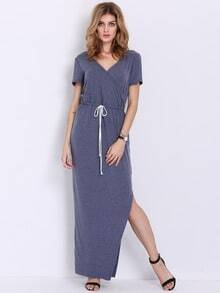 Blue Short Sleeve Split Maxi Dress