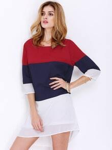 Red White Half Sleeve Color Block Dress