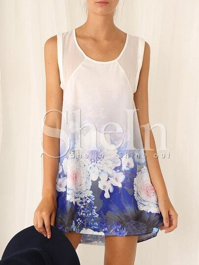 White Sleeveless Floral Print Dress pictures