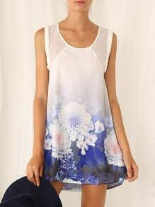 Multicolour Vest Sleeveless Floral Print Dress