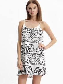 White Spaghetti Strap Elephants Print Dress