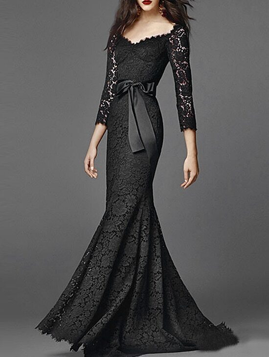 Black Length Sleeve Tie-Waist Lace Fishtail Dress