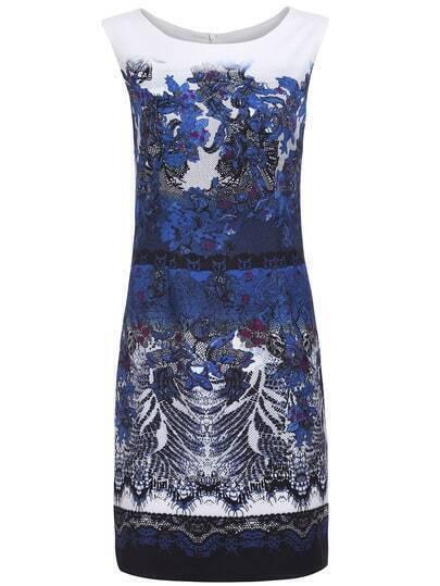 Navy Round Neck Sleeveless Print Dress