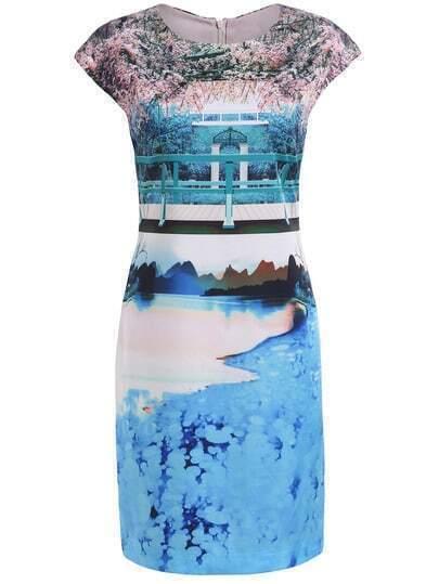 Multicolor Round Neck Cap Sleeve Floral Print Dress