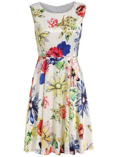 Apricot Round Neck Sleeveless Floral Print Dress