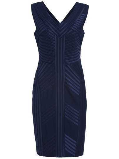 Navy Striped V Neck Sleeveless Dress