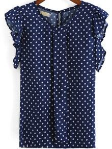 Blue Round Neck Ruffle Sleeve Polka Dot Blouse