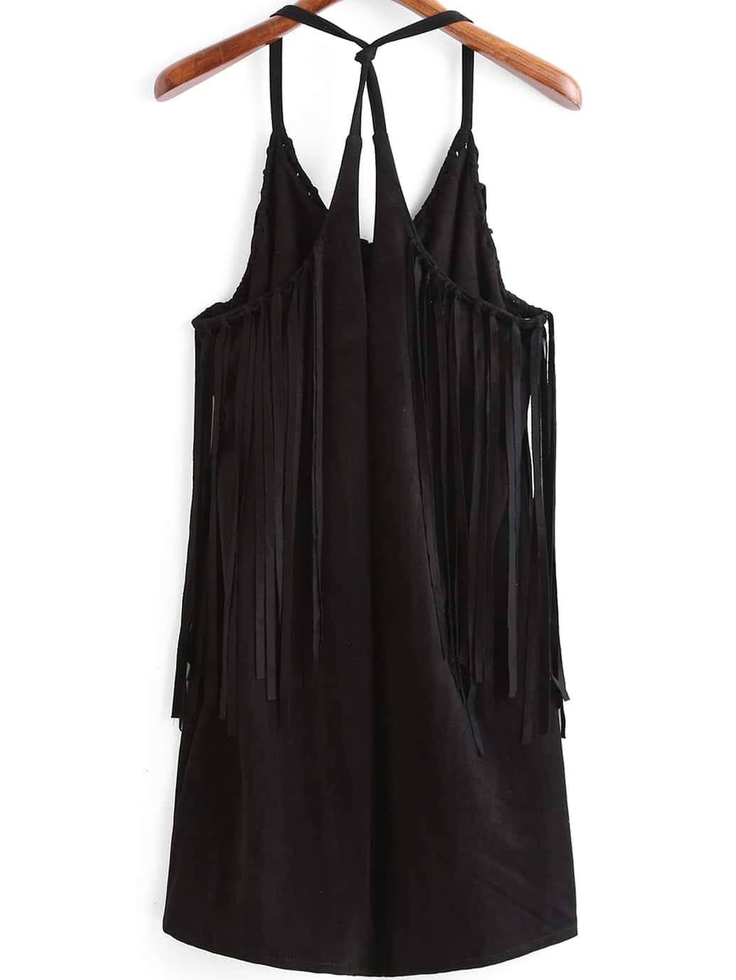 robe franges bretelle noir french shein sheinside. Black Bedroom Furniture Sets. Home Design Ideas