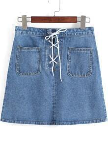 Blue Pockets Bandage Denim Skirt