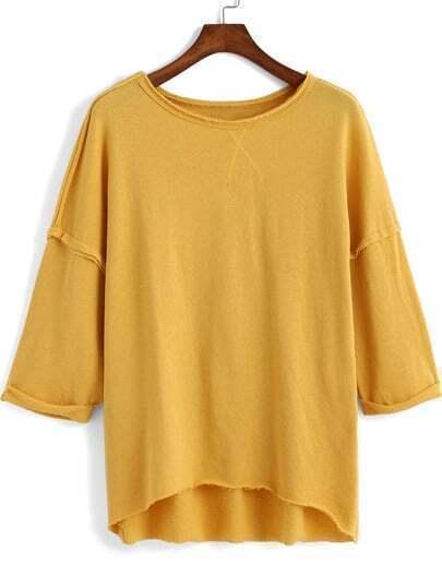 Yellow Round Neck Loose Dip Hem T-Shirt