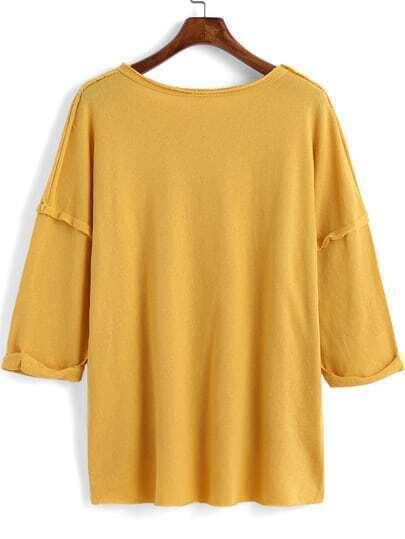 Yellow round neck loose dip hem t shirt shein sheinside for Plain yellow long sleeve t shirt