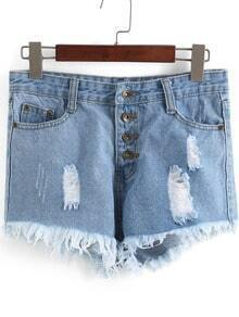 Shorts en Denim déchiré -bleu