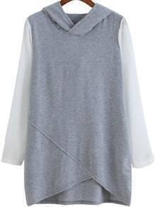 Grey Hooded Contrast Long Sleeve Loose Sweatshirt