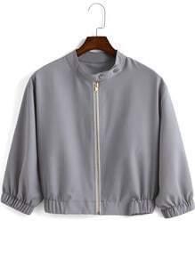 Grey Stand Collar Zipper Crop Coat