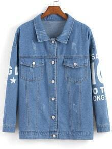 Blue Lapel Shark Print Denim Jacket