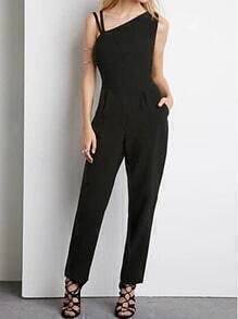 Black One-shoulder Slim Casual Jumpsuit