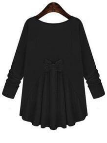Black Round Neck Long Sleeve Bow Loose T-Shirt