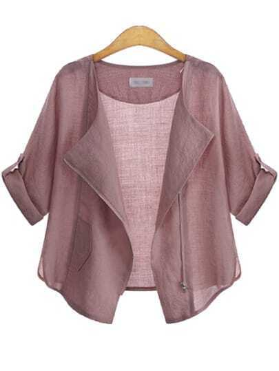 Pink Casual Long Sleeve Loose Coat
