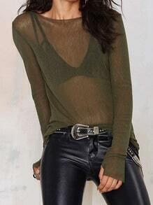 Army Green Long Sleeve Transparent Sexual Ethereal Sheer Slim Sweater