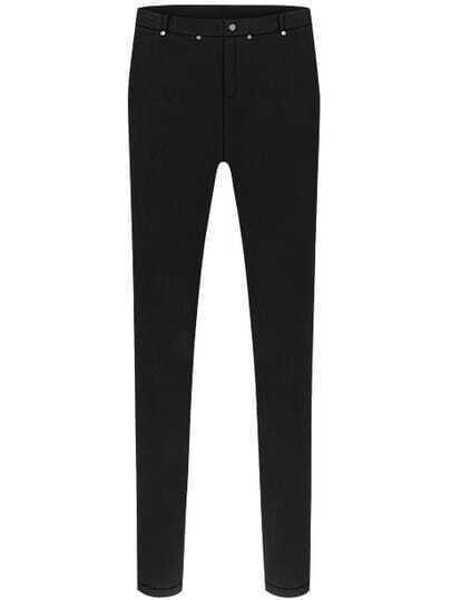 Black Slim Buttons Pant