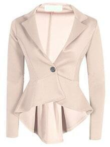 Apricot Lapel Single Button Dip Hem Blazer