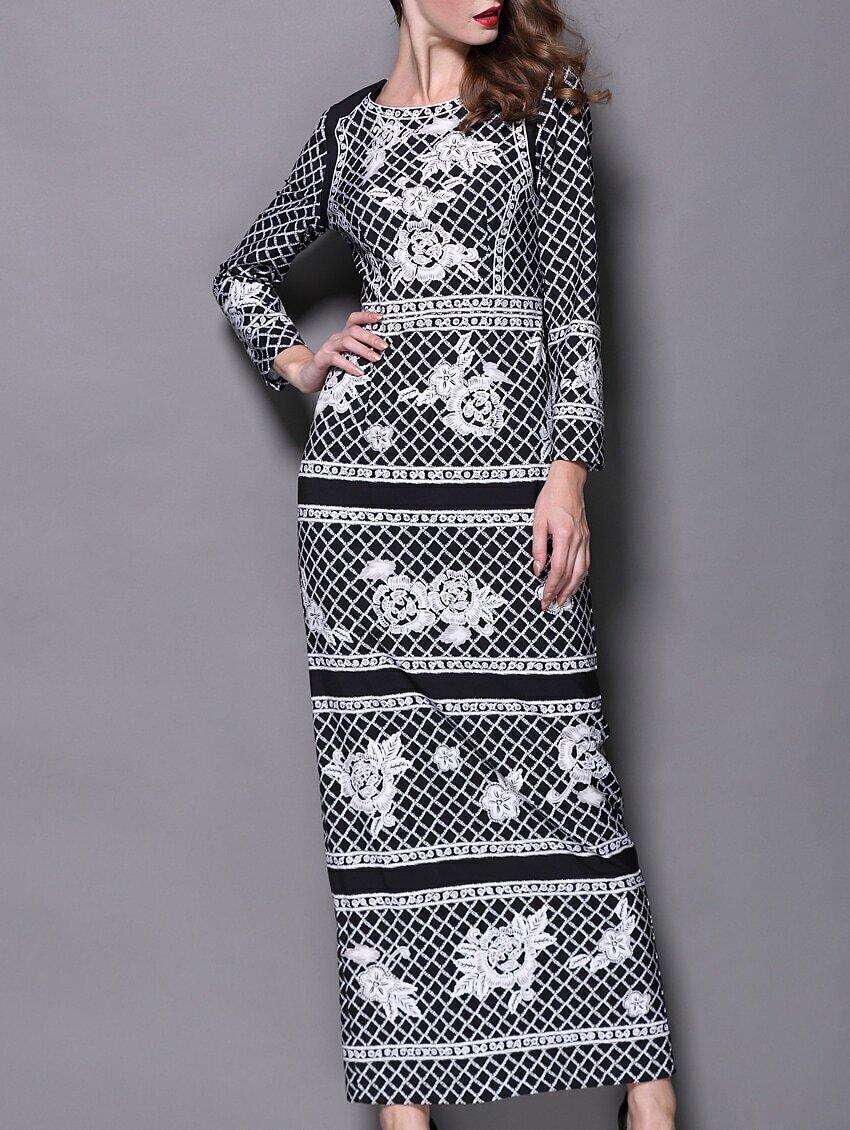Black Round Neck Long Sleeve Check Print Maxi Dress