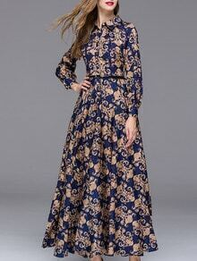Multicolor Lapel Long Sleeve Drawstring Print Dress