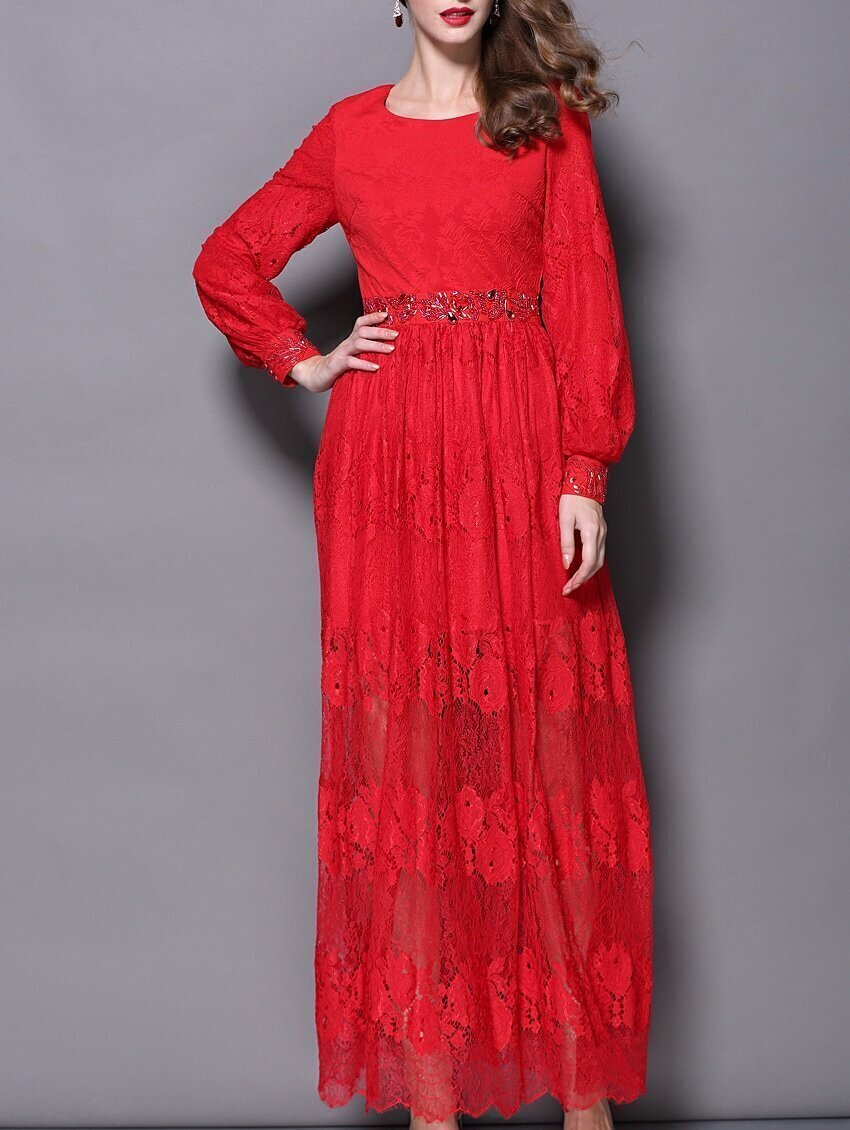 Red Round Neck Long Sleeve Beading Lace Dress