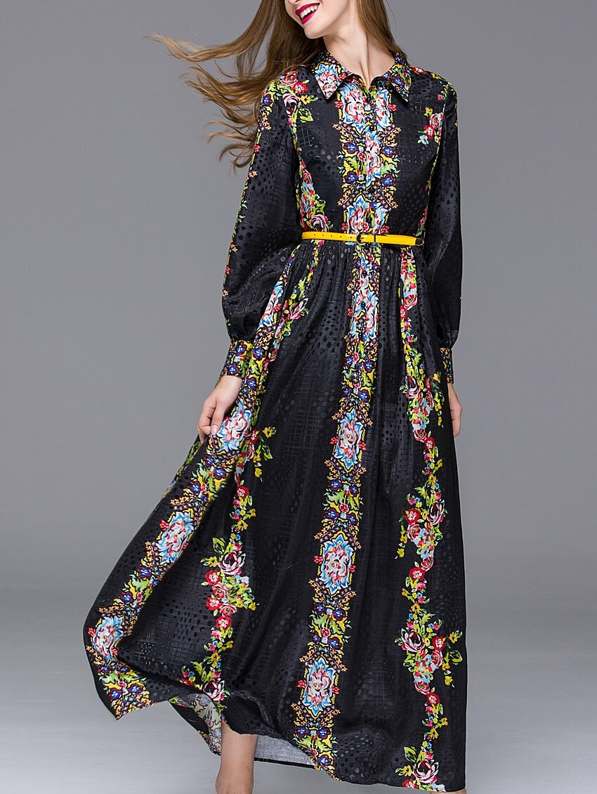 Black Lapel Long Sleeve Hollow Drawstring Print Dress