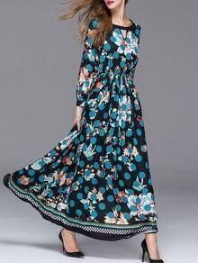 Black Round Neck Long Sleeve Polka Dot Print Dress