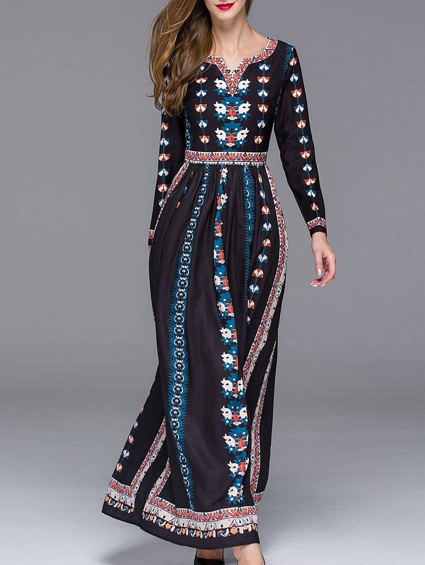 Black V Neck Long Sleeve Floral Print Maxi Dress