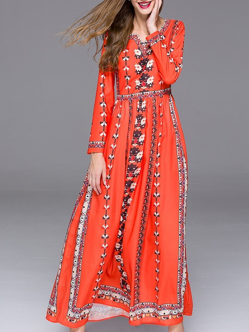 Orange V Neck Long Sleeve Floral Print Maxi Dress