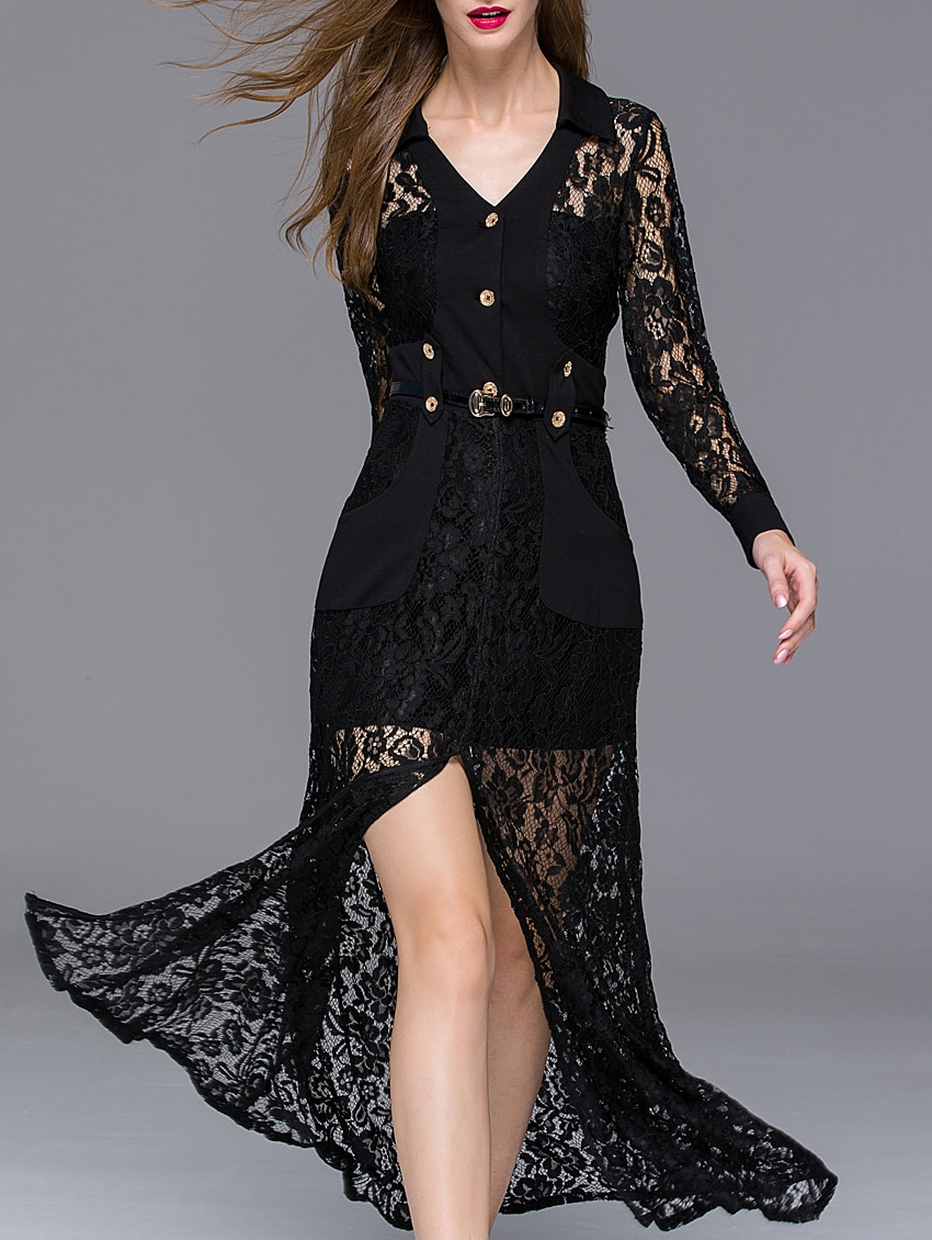 Black V Neck Long Sleeve Thigh Split Drawstring Lace Dress