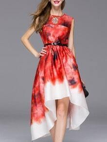 Red Round Neck Sleeveless High Low Drawstring Print Dress