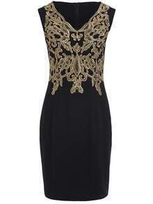 Black V Neck Sleeveless Embroidered Bodycon Dress