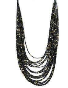 Black Multilayers Long Beads Necklace