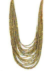 Coffee Multilayers Long Beads Necklace