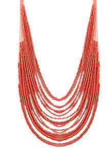 collier avec perles -rouge