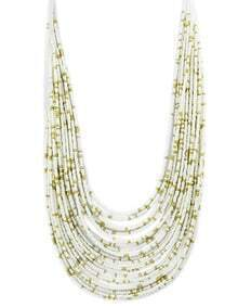 White Multilayers Long Beads Necklace