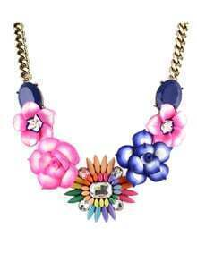 Shourouk Necklace Colorful Gemstone Resin Flower Necklace