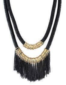 New Design Black Two Layers Net Chain Women Tassel Necklace