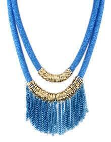 New Design Blue Two Layers Net Chain Women Tassel Necklace