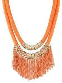 New Design Orange Two Layers Net Chain Women Tassel Necklace