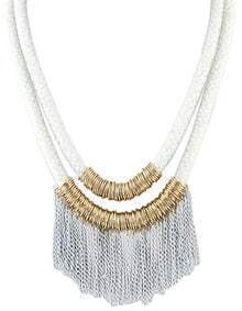 New Design White Two Layers Net Chain Women Tassel Necklace