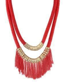 New Design Red Two Layers Net Chain Women Tassel Necklace