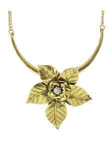 Gold Antique Style Alloy Big Flower Pendant Necklace