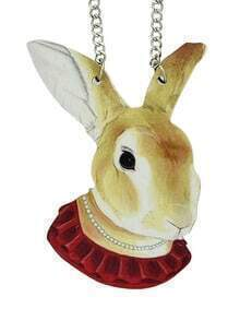 Viviv Rabbit Head Pendant Animal Necklace