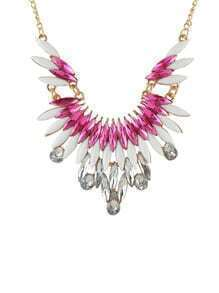 New Fashion Hotpink Gemstone Beautiful Women Shourouk Necklace