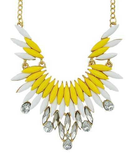 New Fashion Yellow Gemstone Beautiful Women Shourouk Necklace