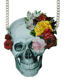 New Fashion Long Viviv Colorful Skull Necklace